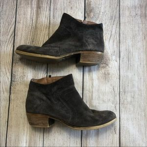 Lucky Brand Gray Suede Zip Up Ankle Booties